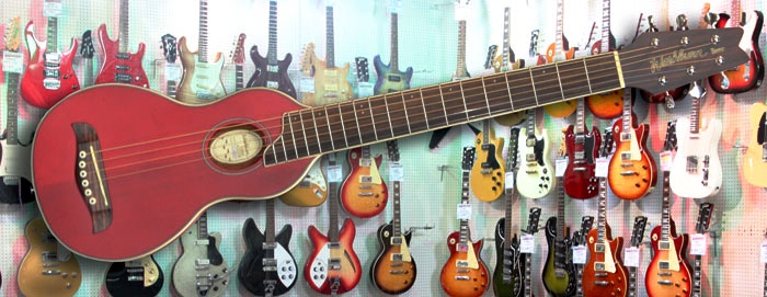 Washburn Rover Travel Guitar Transparent Red